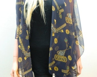 Dark Navy Kimono cardiganAntique gold yellow tassels and jewels chiffon-Layering piece