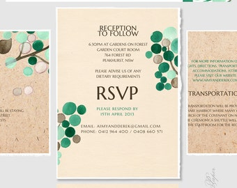 RSVP card Wedding Invite Set printable - Custom Menu Save the Date Wedding Invitations Thank You Cards - Wedding Invitations Card Package