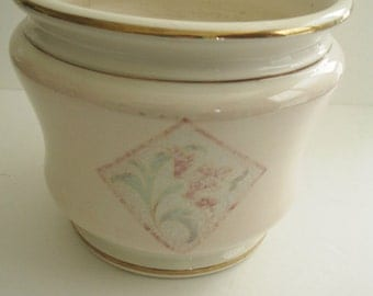 Planter Italian Cache Pot Facciolini Castelli Signed Pink Ivory Vintage Shabby Cottage  Marked