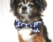 Pet Dog Bowtie-Clip on Nautical Navy Blue and White Chain Print