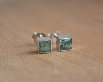 4mm Teal Colored Tourmaline Studs in 14 K White Gold Princess Bezels