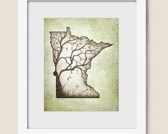 8 x 10 Minnesota State Art Family Room Decor, Earth Tones Brown and Green Tree Wall Art Print (352)