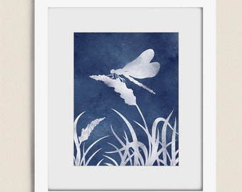 Dragonfly Art Print, 11 x 14 Dark Blue Home Decor Living Room Art, Dragonfly  Wall Art Bedroom Wall Decor (8)