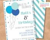 Confetti & Balloons Birthday Invitation - DIY Printable Digital File - Blue Green Aqua Air Mail Stripe Custom 5x7 4x6 Birthday Party Invite