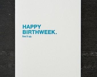 happy birthweek. letterpress card. #002