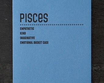 pisces. letterpress card. #221