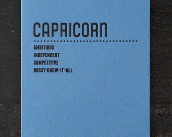 capricorn. letterpress card. #219
