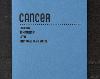 cancer. letterpress card. #213
