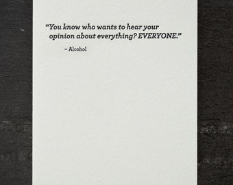 opinion. letterpress card. #678