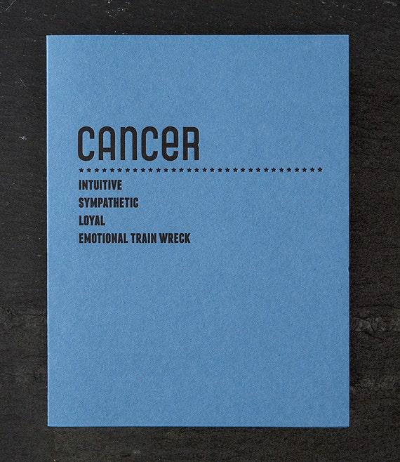 cancer. letterpress card. #213