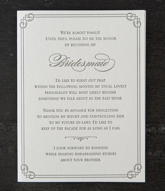 bridesmaid. brother. letterpress card. #429