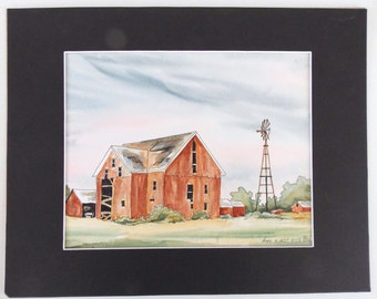 "Original Painting, Original Barn Scene, Watercolor And Ink, Original Art,Barn Scene, 11"" x 14"" Mat, Country Scene, Country Landscape, WC Art"