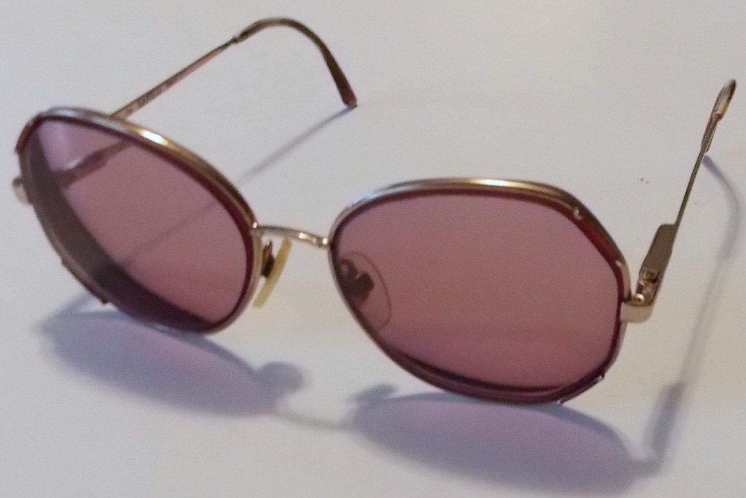 Gold Color Eyeglass Frames : 1970s Gold Colored Metal Rim Glasses Christian by ...
