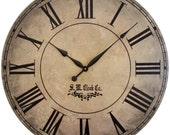 36 in Grand Gallery extra large wall clock Roman numerals big rustic tan crackle distressed antique style round wood tuscan