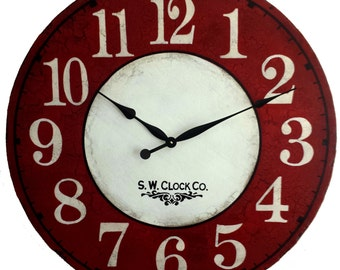 36 inch  Devonshire Large Wall Clock - Antique style Red Cream Crackle French Country big round tuscan