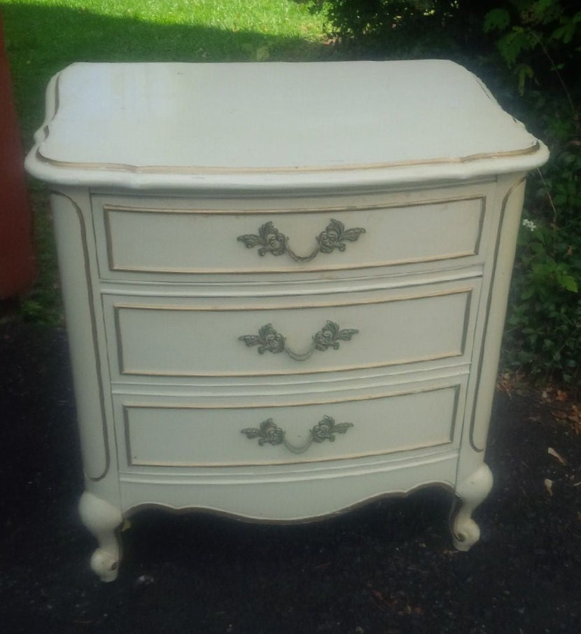 Paris Nightstand: Paris Boudoir Nightstand Vintage Bow Front French Provincial