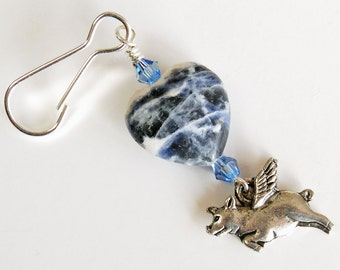 Sodalite Heart with Blue Crystals n Silver Flying Pig Zipper Pull, Pigasus Purse Charm, When Pigs Fly Backpack Charm