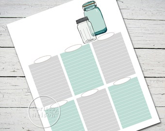 Mason Jars To-Do List Instant Printable