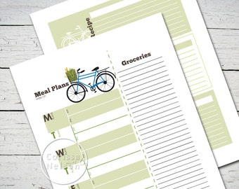 Farmers Market Bicycle Meal Planning Kit - recipe cards - Instant Printable