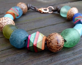 Striped Mixed Media Bracelet - Striped Wood Beads, Recycled Glass Beads, Wood Beads, Brown Leather Bracelet