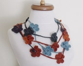 Multicolor Lariat- (5) Scarf- Necklace Hand Crochet-Ready For Shipping