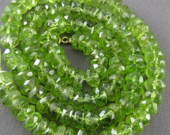 Quality Peridot Faceted Rondelle Bead Parcel of 15 HALF OFF