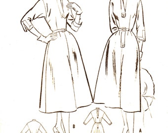 50s Shirt Dress Flared Skirt McCalls 9837 Vintage Sewing Pattern Bust 36 Size 18