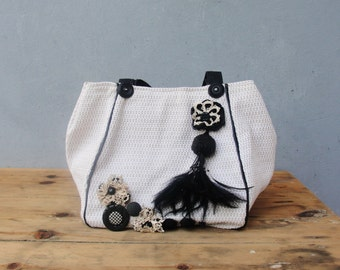 Black and White Bag - Leather Straps, Vintage buttons, lace and Feathers