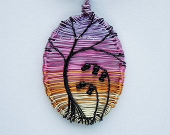 Sunset After Rain wire wrapped pendant - sunset pendant with silhouette, wire wrapped pendant MADE TO ORDER