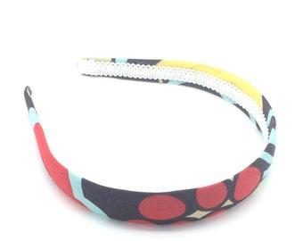 Floral Headband - Chocolate Brown, Red, Blue, Yellow, Light Sage & Rust - Big Girl Headband, Adult Headband