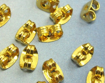 24 K Gold Ear Nuts 10 pcs Vermeil ear Back Gold Over Sterling Silver A-71
