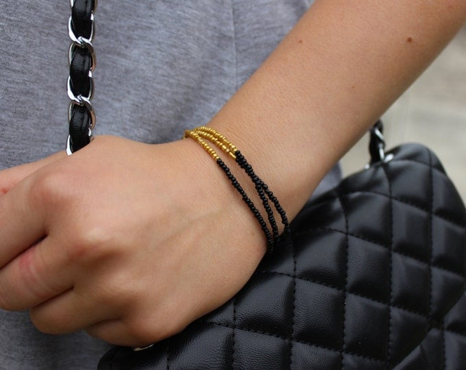 Beaded Gold and Black Dip Dye Bracelet. Ombre Bracelet.