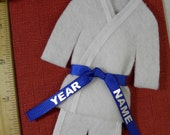 Blue Belt Martial Arts Christmas Ornament- Personalized - Custom Uniform Ornament - TaeKwonDo Karate Jiu Jitsu Hapkido
