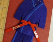 Martial Arts Ornament- CHOOSE Belt Color - Personalized - Christmas- Blue Uniform with Name / Year -TaeKwonDo Karate Jiu Jitsu Bando Hapkido