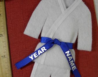 Blue Belt Martial Arts Christmas Ornament- Personalized - Custom Uniform Ornament - TaeKwonDo Karate Jiu Jitsu Hapkido