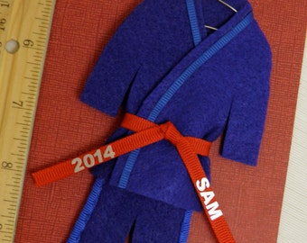 Martial Arts Ornament- CHOOSE Belt Color - Personalized - Christmas- Blue Uniform with Name / Year -TaeKwonDo Karate Jiu Jitsu Bando Hapkido