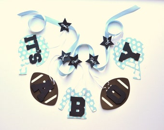 Football baby shower decorations blue polka dots it's a boy banner by ParkersPrints on Etsy