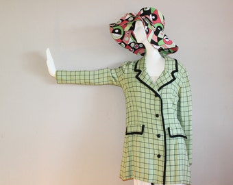 Sixties Mint Green with Black Window Pane Jacket with Black Pipping.