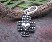 1 PC Sterling Silver Cross with Heart Pendant with Bail 10 mm