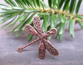 4 Antique Copper Delicate Dragonfly Connectors