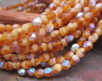 Matte AB Toasted Coconut Fire Polished 4mm Czech Glass Beads