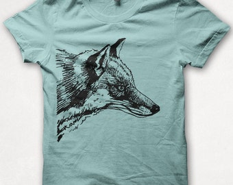 Womens Tshirt, Graphic Tee, Red Fox, Fox Shirt, Forest and Fin, Screenprint - Aqua