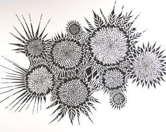 Chrysanthemum Abstract Art Drawing . Original Pen Drawing . Black and White Art . Flower Art . Abstract Drawing