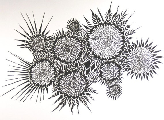 lart abstrait et chrysanth me dessin dessin original de. Black Bedroom Furniture Sets. Home Design Ideas