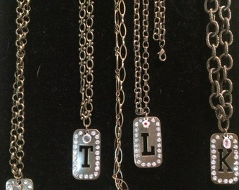 """Initial """"dog tag""""  Necklaces"""