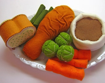 Pretend Felt Play Food - Chicken Leg, Mashed Potatoes and Green Beans Dinner, kid's play kitchen accessory