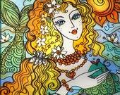 Original Glass Painting, Mermaid with Green Fish, Traditional Ukrainian Style