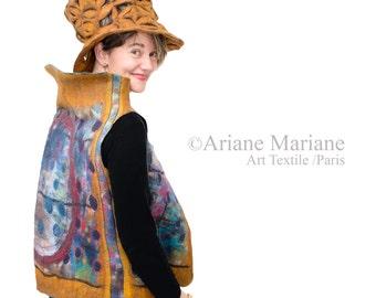 Wearable Felt Art Vest;  Women Wool Silk Vest, Unique Reversible Textile Art Garment,