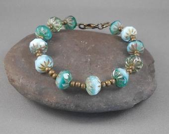 To the Sea Czech Glass and Brass Bead Bracelet