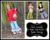 "SIG Creations Birdie Multi-Ruffle Pants/Capris Digital PDF Bundle Pattern - Size 12 month to 14 youth with 18"" doll pattern included!"